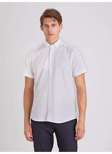 Dufy Lıla Jakar Kısa Kol Pamuk Karışımlı Erkek Gömlek - Regular Fıt Beyaz
